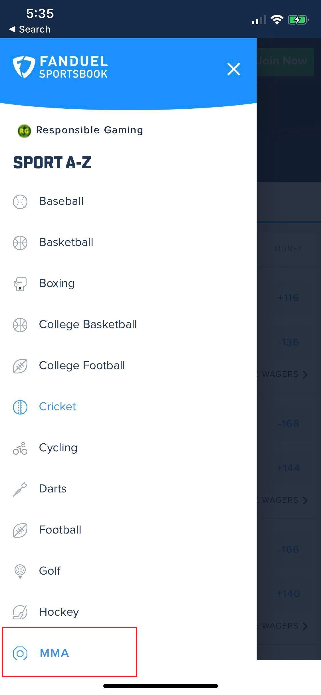 FanDuel Sportsbook App Menu