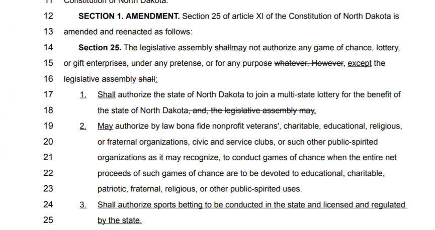 Section 25 or article Xl North Dakota